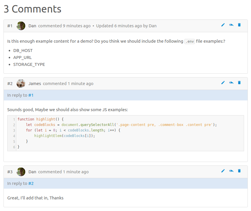 BookStack Comment System
