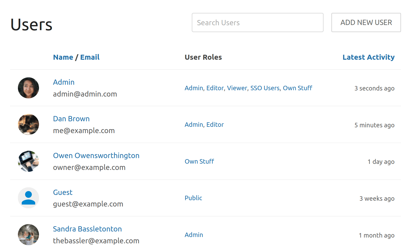 User List with Latest Activity